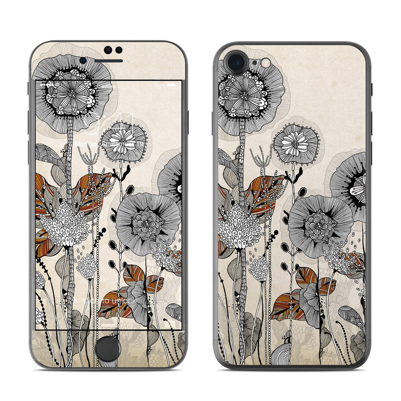iPhone 7 Skin design of Illustration, Botany, Drawing, Plant, Flower, Wildflower, Ammonoidea, Art, Still life, Still life photography with gray, black, red colors