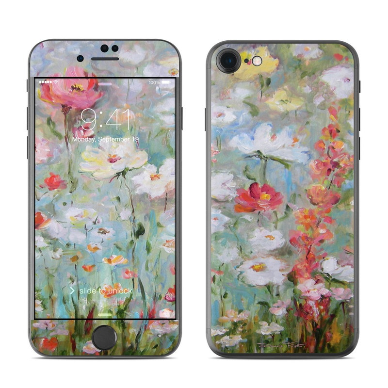 iPhone 7 Skin design of Flower, Painting, Watercolor paint, Plant, Modern art, Wildflower, Botany, Meadow, Acrylic paint, Flowering plant with gray, black, green, red, blue colors