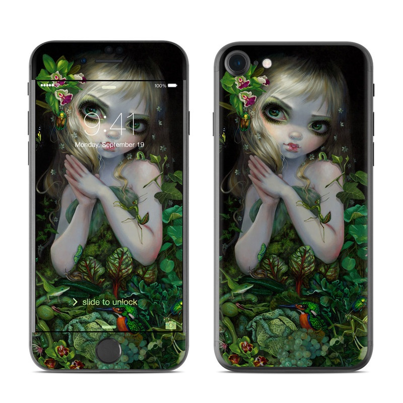 iPhone 7 Skin design of Green, Doll, Fictional character, Lip, Plant, Supervillain, Flower, Illustration, Ivy, Fawn with black, white, green, red colors