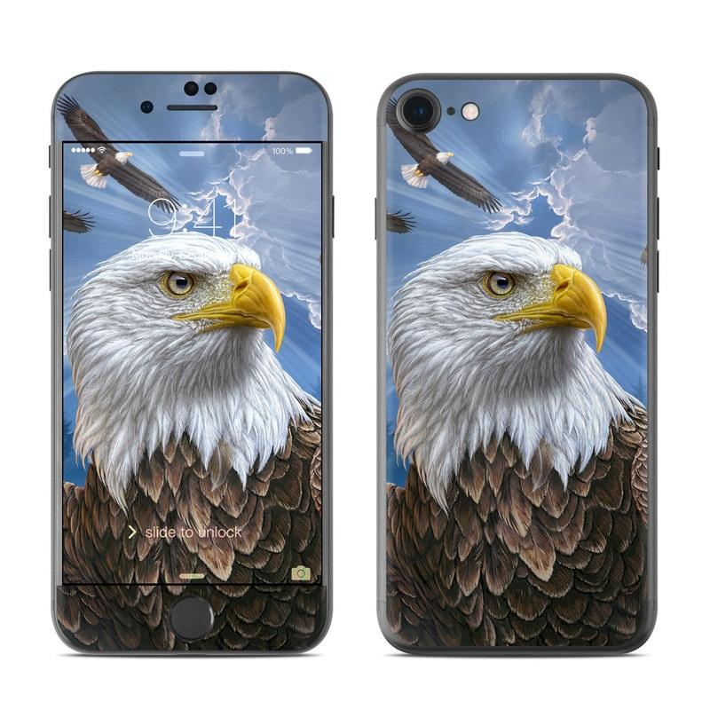 iPhone 7 Skin design of Bird, Bald eagle, Bird of prey, Vertebrate, Accipitriformes, Accipitridae, Eagle, Nature, Beak, Kite with blue, brown, white, yellow colors