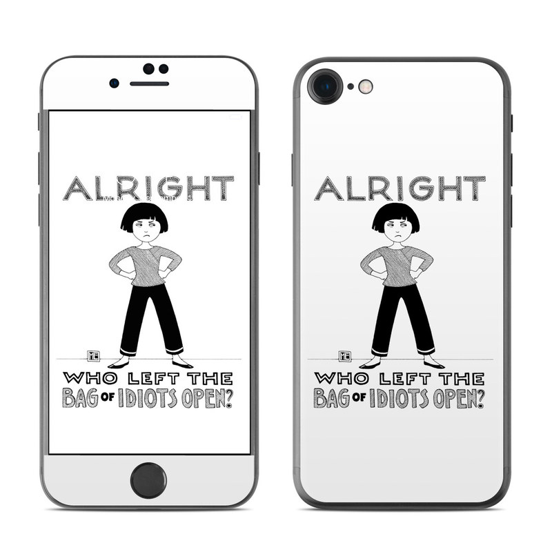 iPhone 7 Skin design of Font, Poster, Illustration with black, white colors