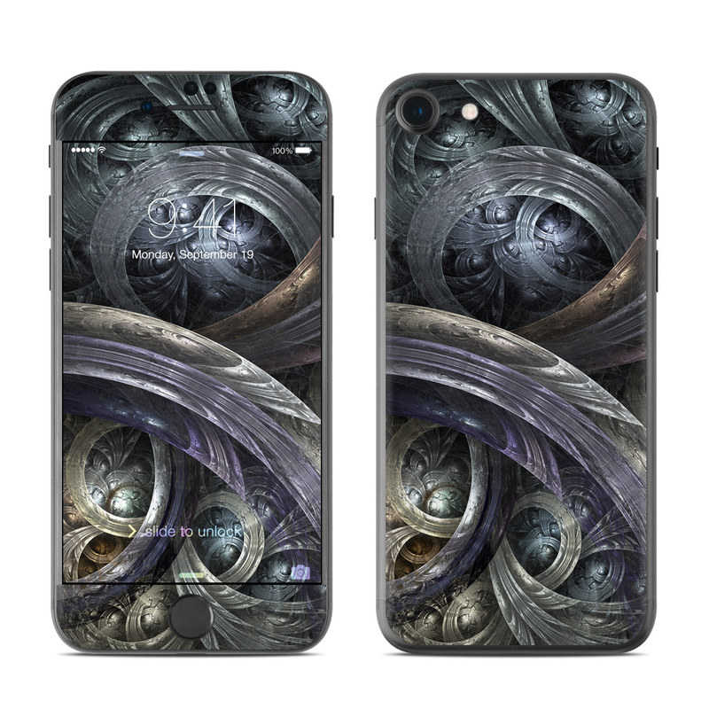 iPhone 7 Skin design of Fractal art, Graphic design, Art, Cg artwork, Darkness, Circle, Pattern, Illustration, Graphics, Metal with black, gray, blue colors