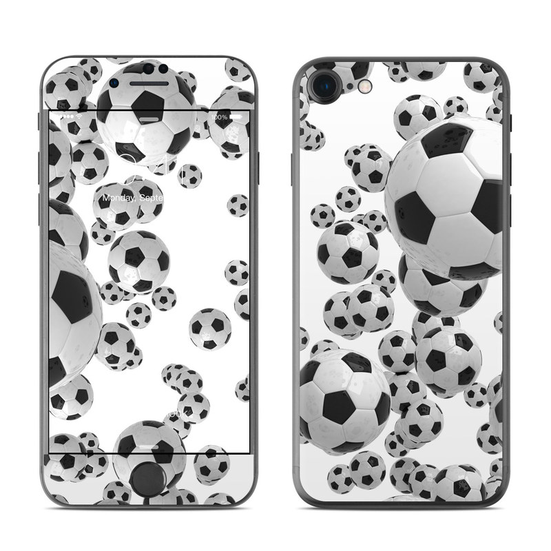 iPhone 7 Skin design of White, Pattern, Football, Ball, Design, Black-and-white, Soccer ball, Monochrome, Paw, Games with gray, white, black colors