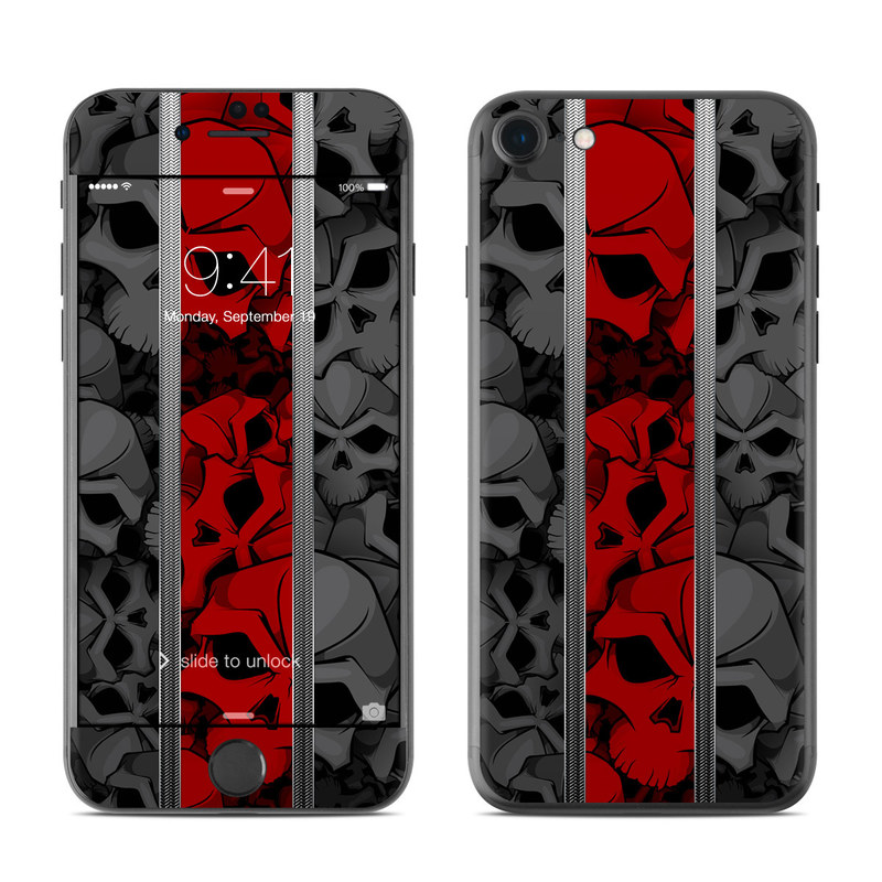 iPhone 7 Skin design of Font, Text, Pattern, Design, Graphic design, Black-and-white, Monochrome, Graphics, Illustration, Art with black, red, gray colors