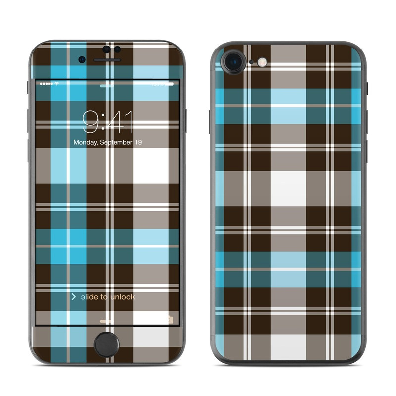 iPhone 7 Skin design of Plaid, Pattern, Tartan, Turquoise, Textile, Design, Brown, Line, Tints and shades with gray, black, blue, white colors