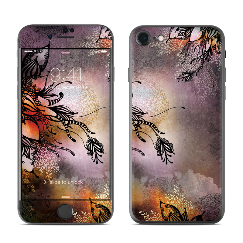 iPhone 7 Skin design of Illustration, Graphic design, Cg artwork, Art, Fictional character, Graphics, Visual arts, Darkness with black, gray, red, green, purple colors