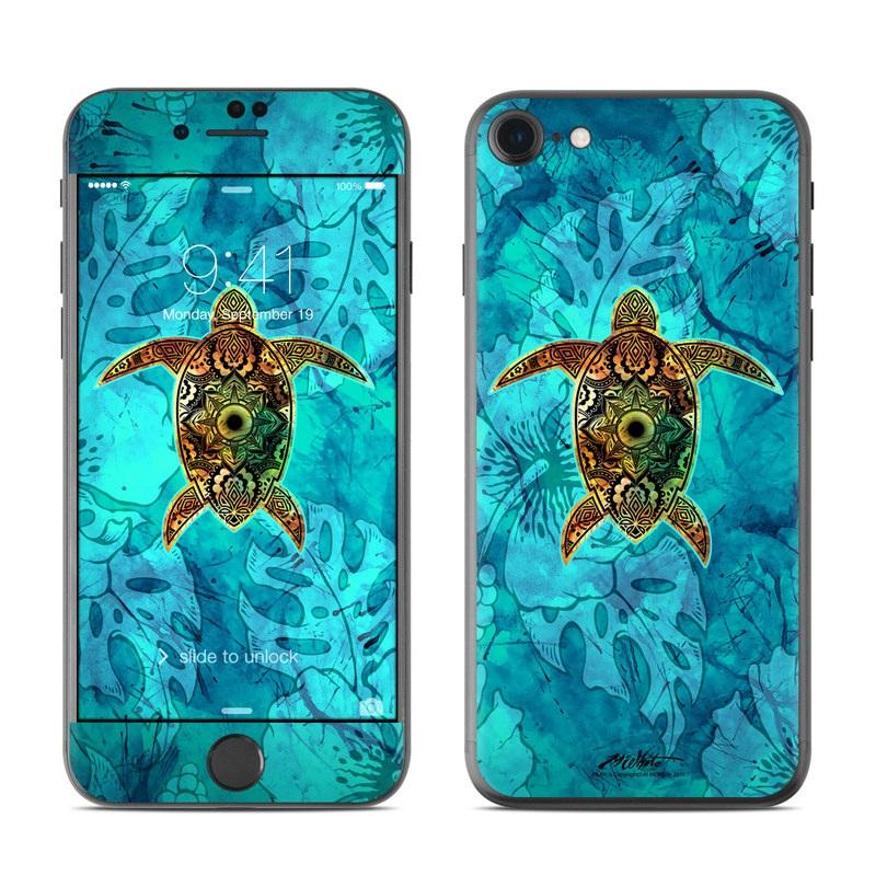 iPhone 7 Skin design of Sea turtle, Green sea turtle, Turtle, Hawksbill sea turtle, Tortoise, Reptile, Loggerhead sea turtle, Illustration, Art, Pattern with blue, black, green, gray, red colors