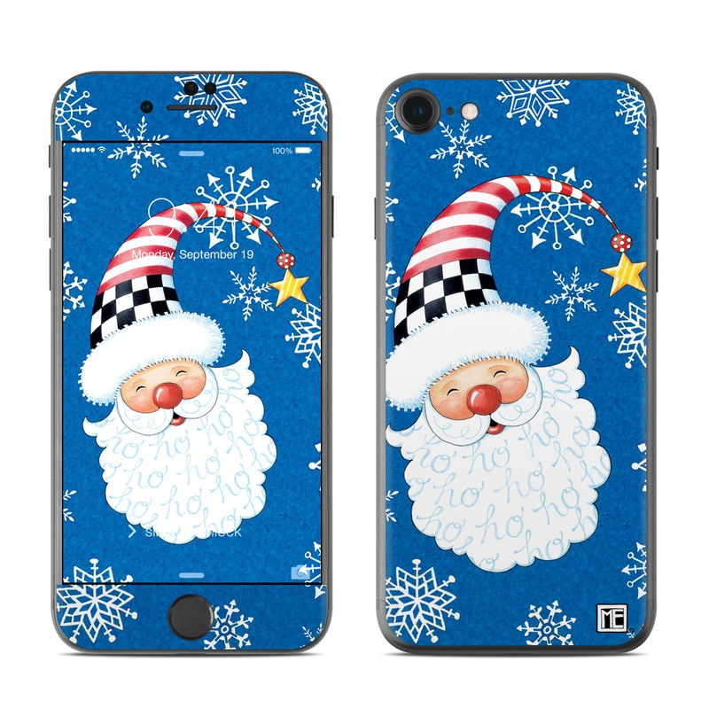 iPhone 7 Skin design of Christmas, Santa claus, Christmas eve, Fictional character with blue, white, gray, purple colors