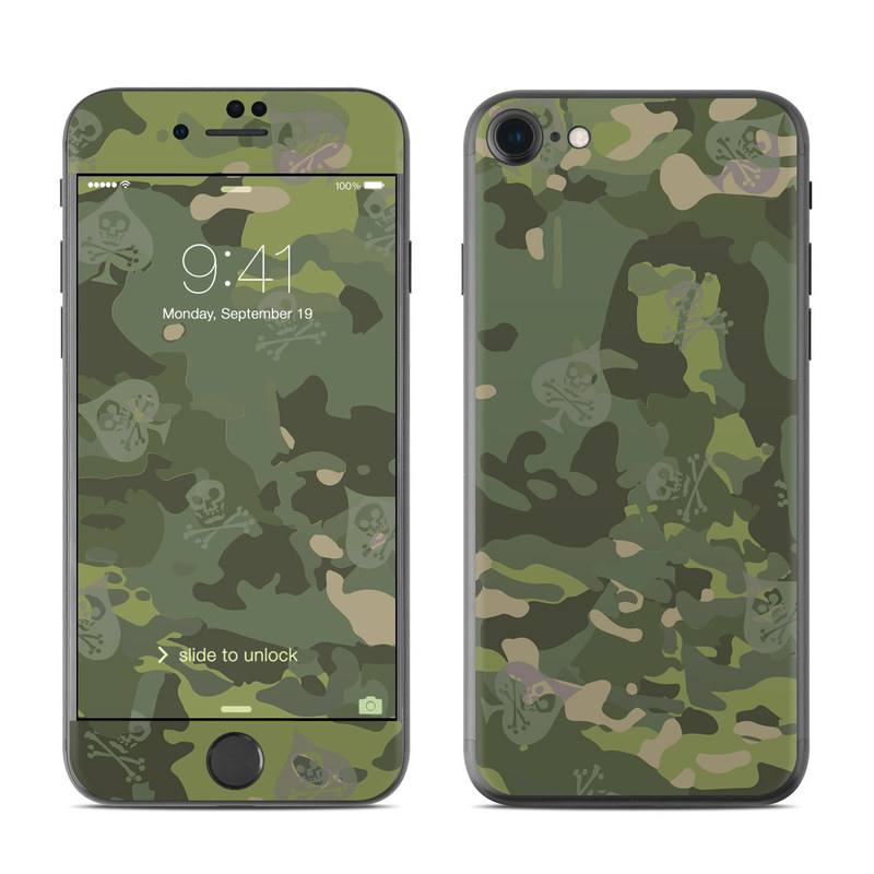 iPhone 7 Skin design of Military camouflage, Pattern, Camouflage, Uniform, Clothing, Green, Design, Leaf, Plant, Illustration with green, brown colors