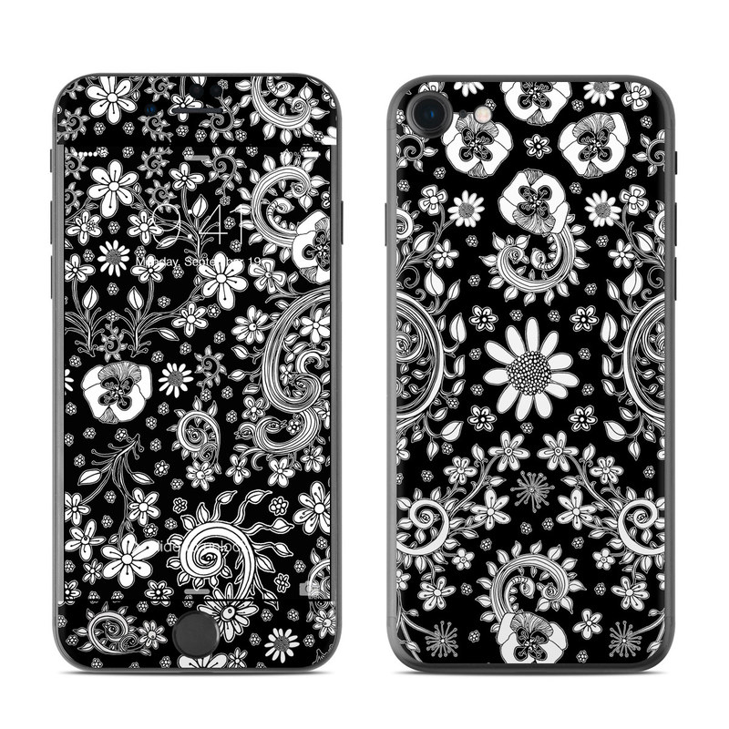 iPhone 7 Skin design of Pattern, Monochrome, Design, Black-and-white, Visual arts, Textile, Motif, Monochrome photography, Symmetry with black, white colors