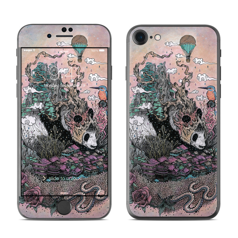 iPhone 7 Skin design of Illustration, Art, Fictional character, Printmaking, Marsupial, Graphic design, Rodent, Possum with gray, black, red, blue, purple colors