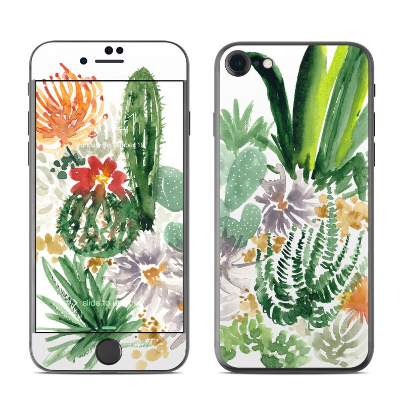 iPhone 7 Skin design of Cactus, Plant, Flower, Botany, Leaf, Illustration, Pine, Grass, Succulent plant, Branch with white, green, red, orange colors