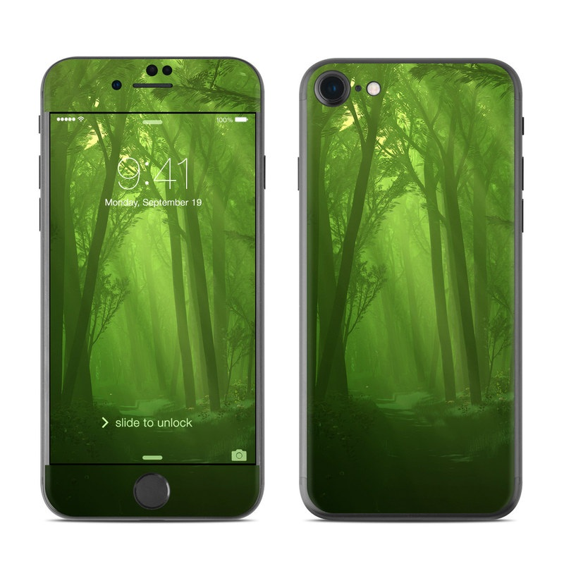 iPhone 7 Skin design of Nature, Green, Forest, Old-growth forest, Woodland, Natural environment, Vegetation, Tree, Natural landscape, Atmospheric phenomenon with black, green colors