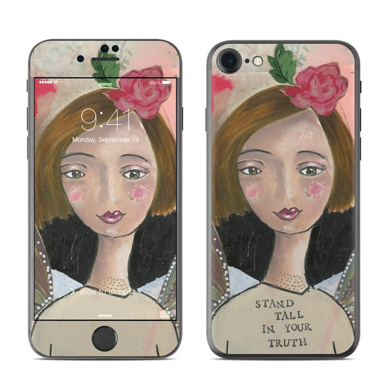 iPhone 7 Skin design of Pink, Watercolor paint, Cheek, Illustration, Art, Acrylic paint, Fictional character, Painting, Paint, Butterfly with red, pink, brown, white, green colors