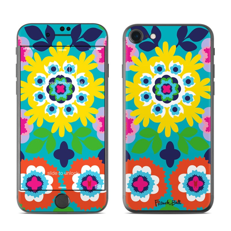 iPhone 7 Skin design of Pattern, Visual arts, Design, Symmetry, Flower, Plant, Floral design, Circle, Psychedelic art, Kaleidoscope with white, blue, yellow, pink, red, green colors