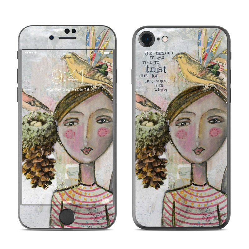 iPhone 7 Skin design of Watercolor paint, Illustration, Art, Painting, Child art, Fictional character, Visual arts, Fashion illustration, Feather, Drawing with gray, brown, pink, yellow, red, green, blue colors