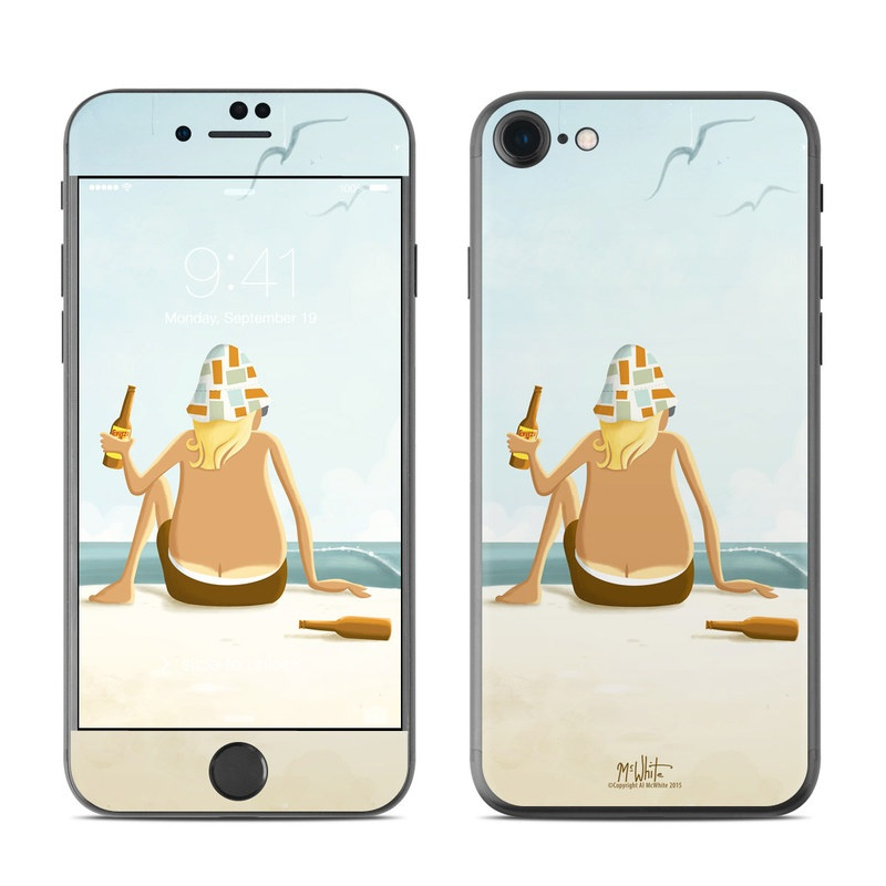 iPhone 7 Skin design of Cartoon, Illustration, Art, Sitting, Vacation, Animation with blue, white, yellow, brown, orange colors