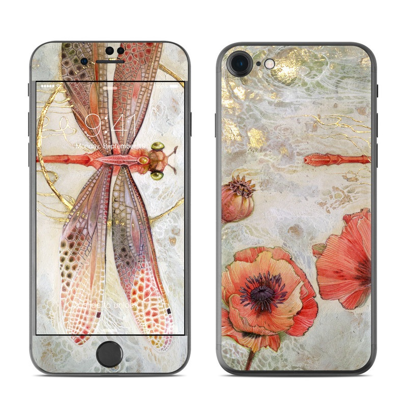 iPhone 7 Skin design of Watercolor paint, Botany, Flower, Illustration, Floral design, Painting, Plant, Coquelicot, Art, Still life photography with red, yellow, gray colors