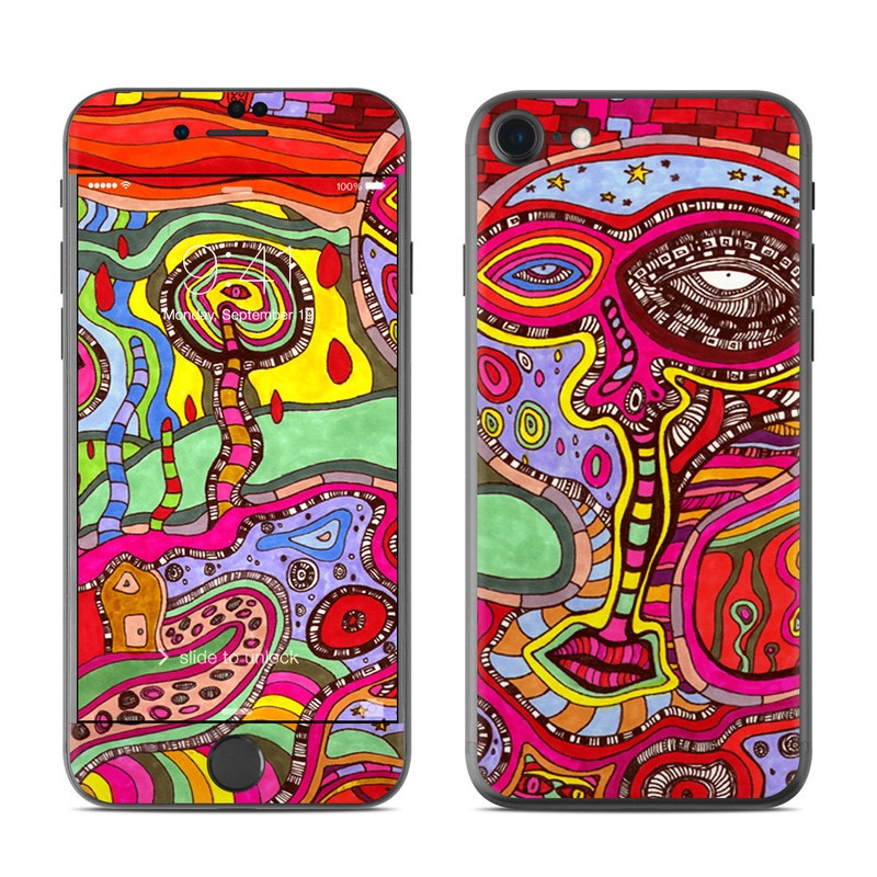 iPhone 7 Skin design of Psychedelic art, Art, Visual arts, Pattern, Modern art, Design, Illustration, Paisley, Motif, Textile with red, gray, black, green, purple, pink colors