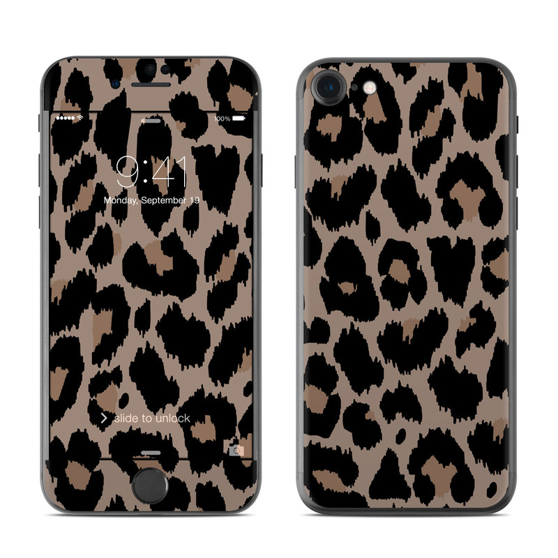 iPhone 7 Skin design of Pattern, Brown, Fur, Design, Textile, Monochrome, Fawn with black, gray, red, green colors