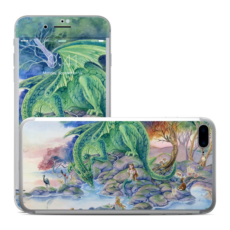 iPhone 7 Plus Skin design of Watercolor paint, Painting, Illustration, Tree, Fictional character, Mythology, Art, Plant, Cg artwork, Mythical creature with green, yellow, blue colors