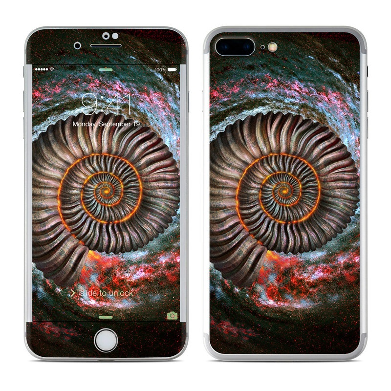 iPhone 7 Plus Skin design of Spiral, Fractal art, Vortex, Circle, Art, Ammonoidea with black, brown, red, white, blue, green colors