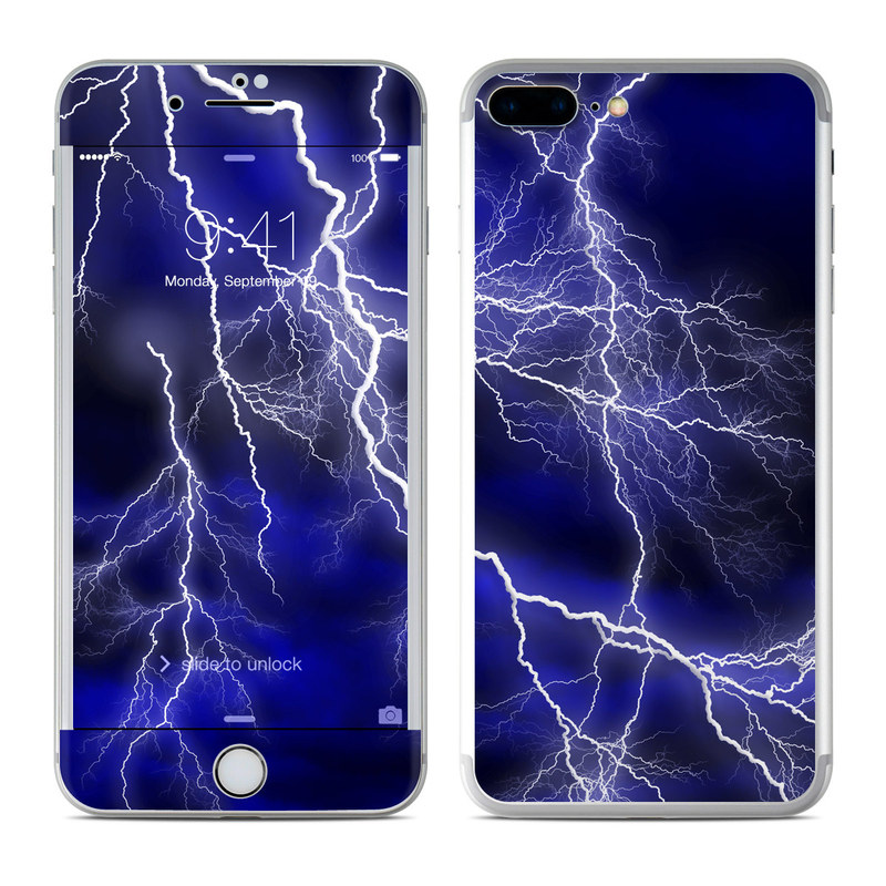 iPhone 7 Plus Skin design of Thunder, Lightning, Thunderstorm, Sky, Nature, Electric blue, Atmosphere, Daytime, Blue, Atmospheric phenomenon with blue, black, white colors