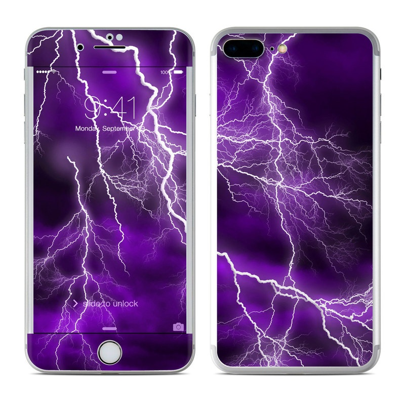 iPhone 7 Plus Skin design of Thunder, Lightning, Thunderstorm, Sky, Nature, Purple, Violet, Atmosphere, Storm, Electric blue with purple, black, white colors