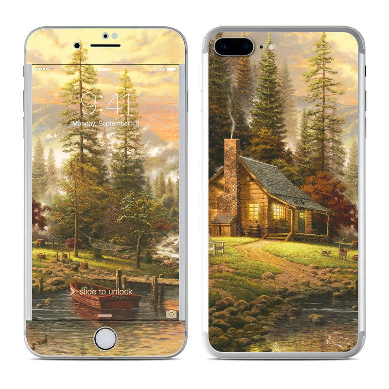 iPhone 7 Plus Skin design of Natural landscape, Nature, Painting, Tree, Landscape, Morning, Sky, Biome, Sunlight, Forest with orange, red, green, brown colors