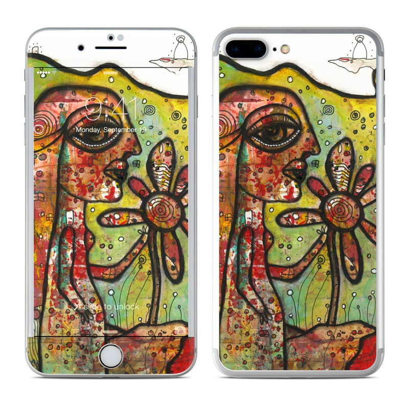 iPhone 7 Plus Skin design of Modern art, Art, Painting, Acrylic paint, Psychedelic art, Visual arts, Watercolor paint, Illustration, Paint, Style with green, black, red, white, orange, yellow colors