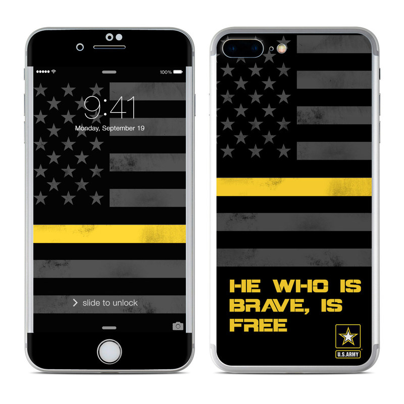iPhone 7 Plus Skin design of Text, Yellow, Font, Line, Parallel, Graphic design, Logo, Graphics with black, gray, yellow, orange colors
