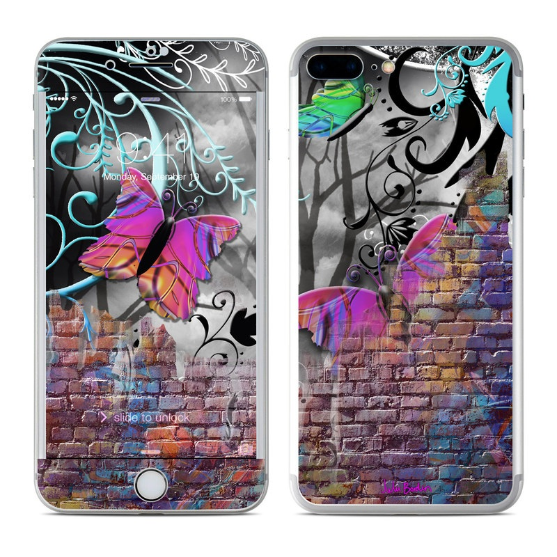 iPhone 7 Plus Skin design of Purple, Graphic design, Art, Pattern, Graffiti, Organism, Street art, Wall, Font, Illustration with red, black, gray, purple, orange, blue, green colors