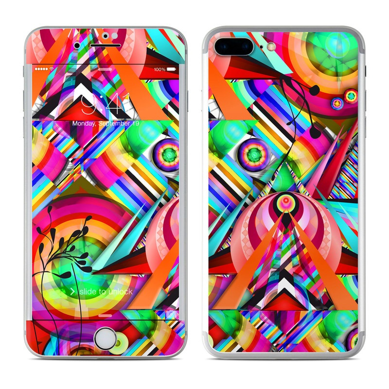 iPhone 7 Plus Skin design of Psychedelic art, Pattern, Design, Graphic design, Colorfulness, Visual arts, Circle, Art with red, pink, green, yellow, orange colors