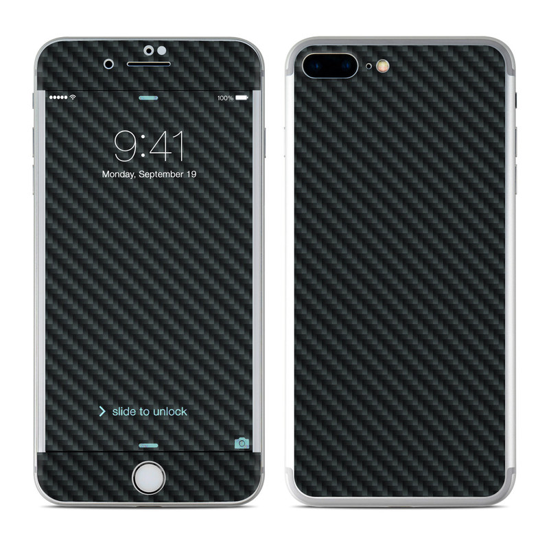 iPhone 7 Plus Skin design of Green, Black, Blue, Pattern, Turquoise, Carbon, Textile, Metal, Mesh, Woven fabric with black colors