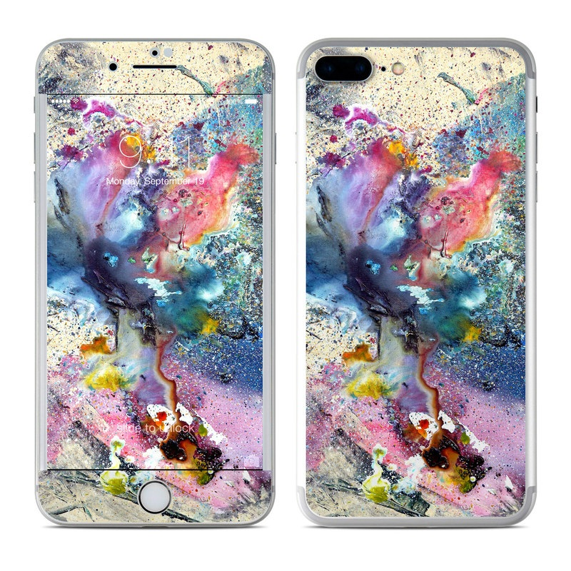 iPhone 7 Plus Skin design of Watercolor paint, Painting, Acrylic paint, Art, Modern art, Paint, Visual arts, Space, Colorfulness, Illustration with gray, black, blue, red, pink colors