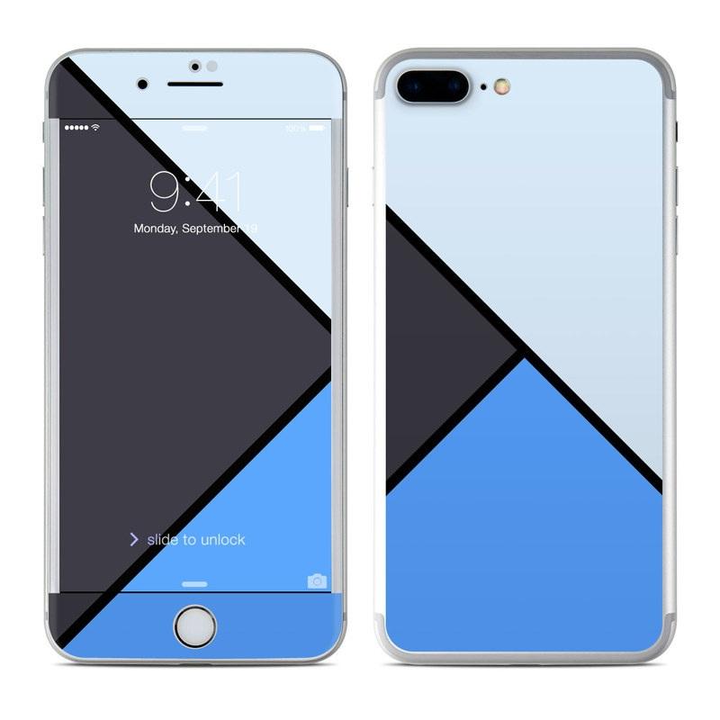 iPhone 7 Plus Skin design of Blue, Line, Cobalt blue, Triangle, Azure, Electric blue, Parallel, Symmetry, Font with blue, gray, black colors