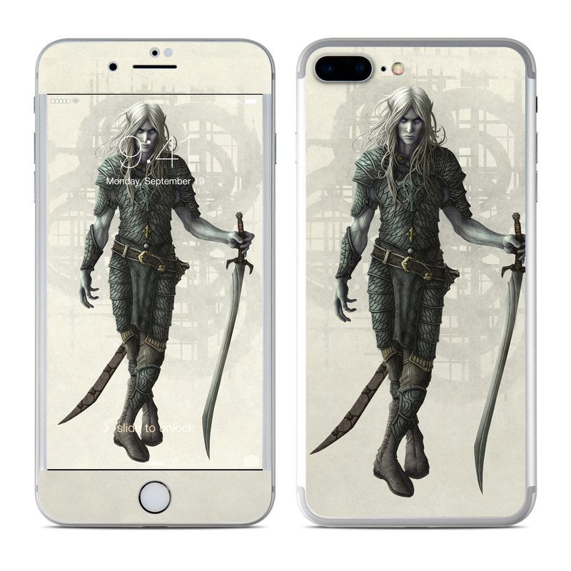 iPhone 7 Plus Skin design of Woman warrior, Illustration, Fictional character, Cg artwork, Costume design, Drawing, Art, Sword with gray, black, pink, yellow colors