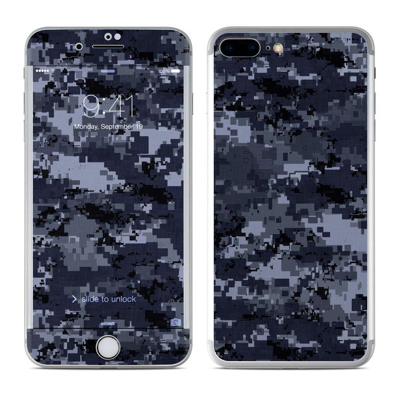 iPhone 7 Plus Skin design of Military camouflage, Black, Pattern, Blue, Camouflage, Design, Uniform, Textile, Black-and-white, Space with black, gray, blue colors