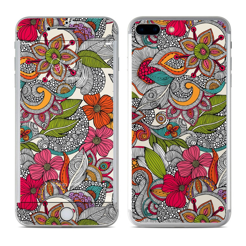 iPhone 7 Plus Skin design of Pattern, Drawing, Visual arts, Art, Design, Doodle, Floral design, Motif, Illustration, Textile with gray, red, black, green, purple, blue colors