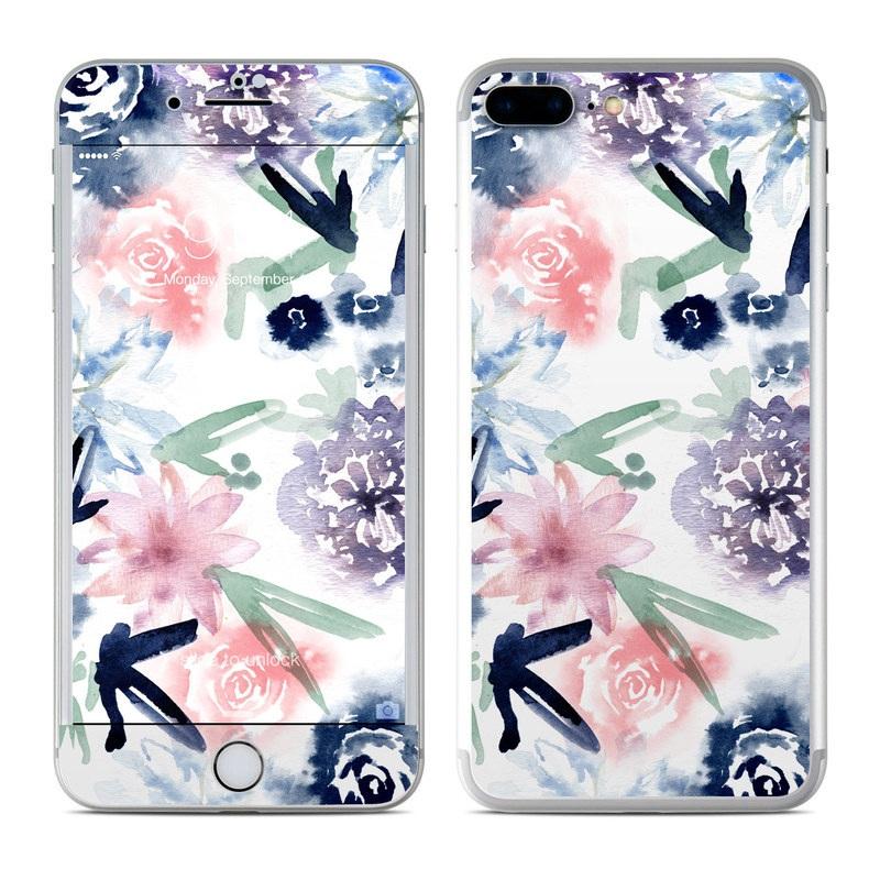 iPhone 7 Plus Skin design of Pattern, Graphic design, Design, Floral design, Plant, Flower, Illustration with white, blue, purple, green, pink colors