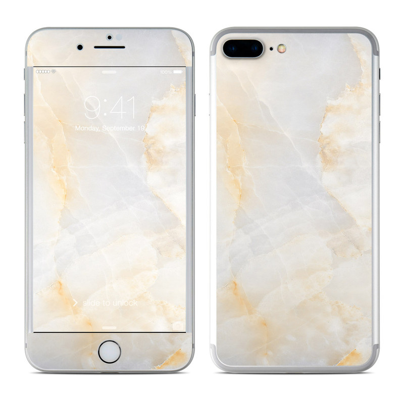 iPhone 7 Plus Skin design of White, Textile, Flooring, Marble, Paper, Pattern, Fashion accessory, Tile with white, orange, black, yellow colors