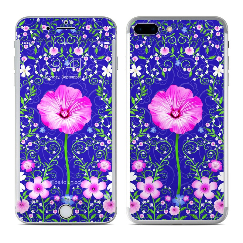 iPhone 7 Plus Skin design of Purple, Violet, Flower, Plant, Wildflower, Pattern, Petal, Design, Graphics, Morning glory with blue, purple, pink, green, white, yellow colors