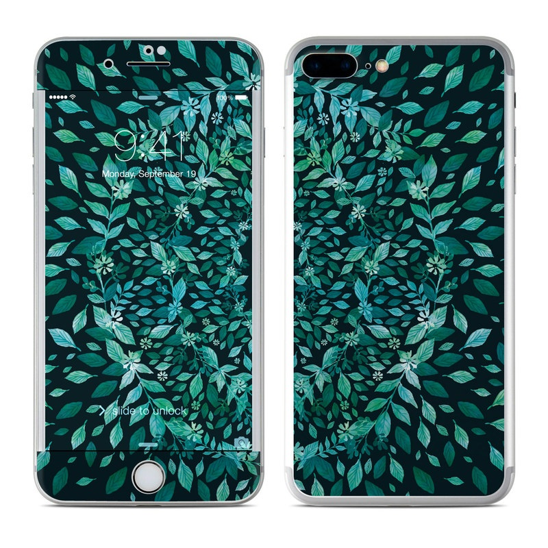 iPhone 7 Plus Skin design of Green, Aqua, Organism, Turquoise, Natural environment, Teal, Marine biology, Water, Leaf, Plant with black, green, white colors