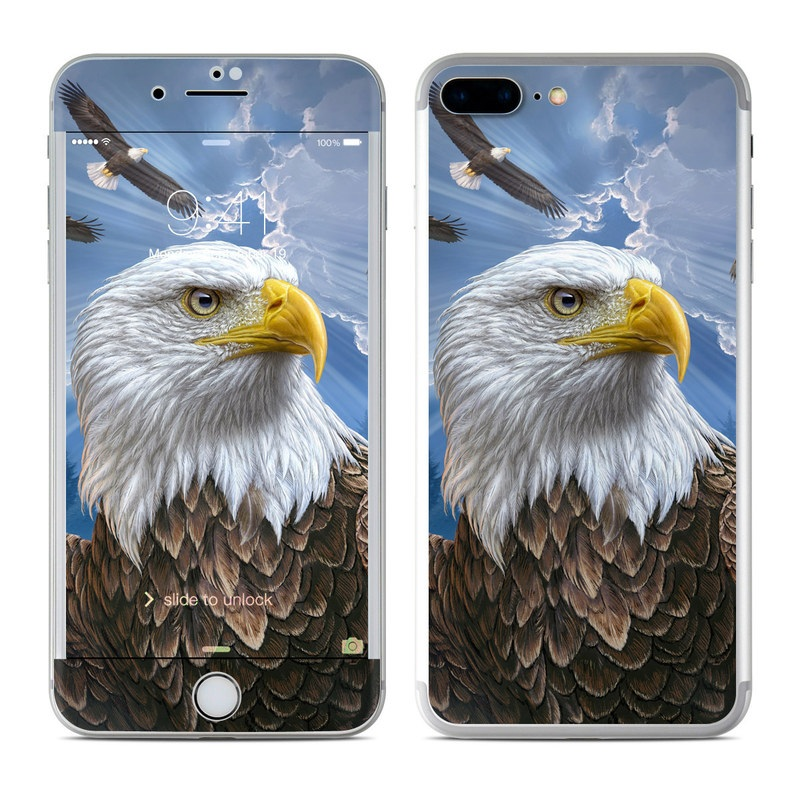iPhone 7 Plus Skin design of Bird, Bald eagle, Bird of prey, Vertebrate, Accipitriformes, Accipitridae, Eagle, Nature, Beak, Kite with blue, brown, white, yellow colors