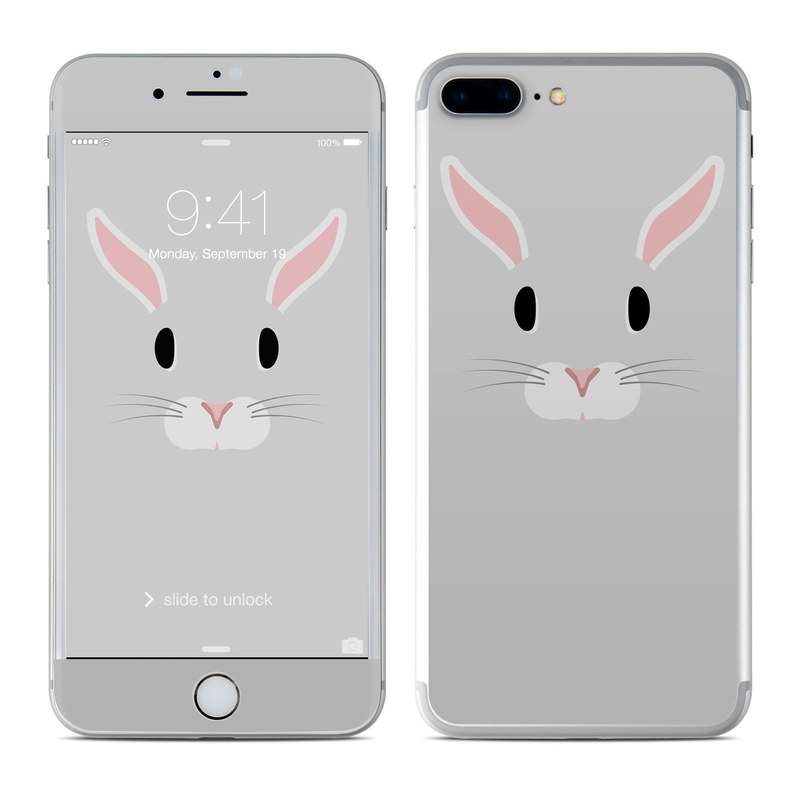 iPhone 7 Plus Skin design of Rabbit, Whiskers, Rabbits and Hares, Snout, Nose, Illustration, Domestic rabbit, Clip art, Mouse, Easter bunny with gray, black, pink colors