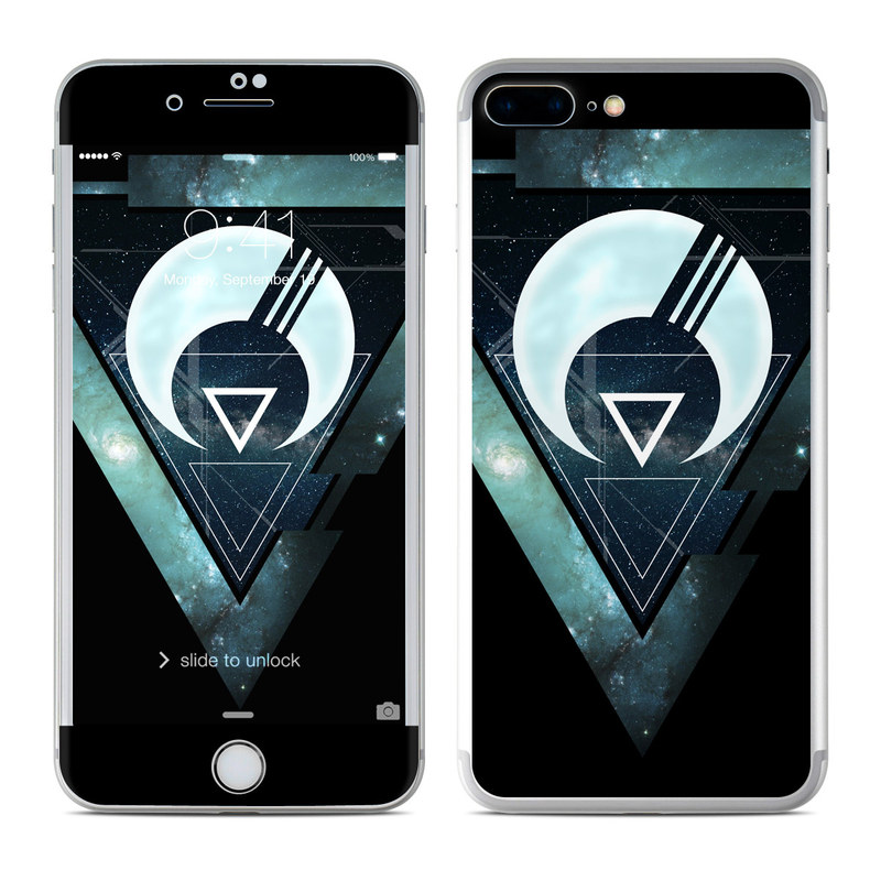 iPhone 7 Plus Skin design of Logo, Font, Emblem, Graphics, Graphic design, Fictional character, Symbol, Triangle with black, blue, white colors