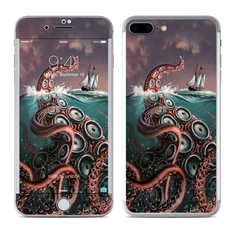 iPhone 7 Plus Skin design of Octopus, Water, Illustration, Wind wave, Sky, Graphic design, Organism, Cephalopod, Cg artwork, giant pacific octopus with blue, gray, white, brown, red colors