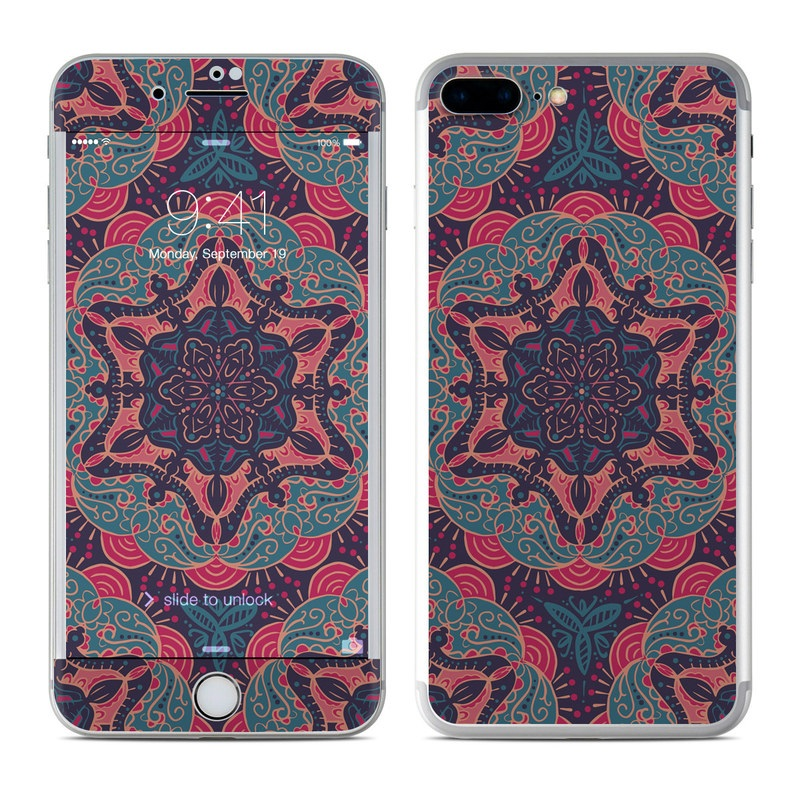 iPhone 7 Plus Skin design of Pattern, Red, Design, Textile, Visual arts, Rug, Symmetry, Motif, Woven fabric with blue, red colors