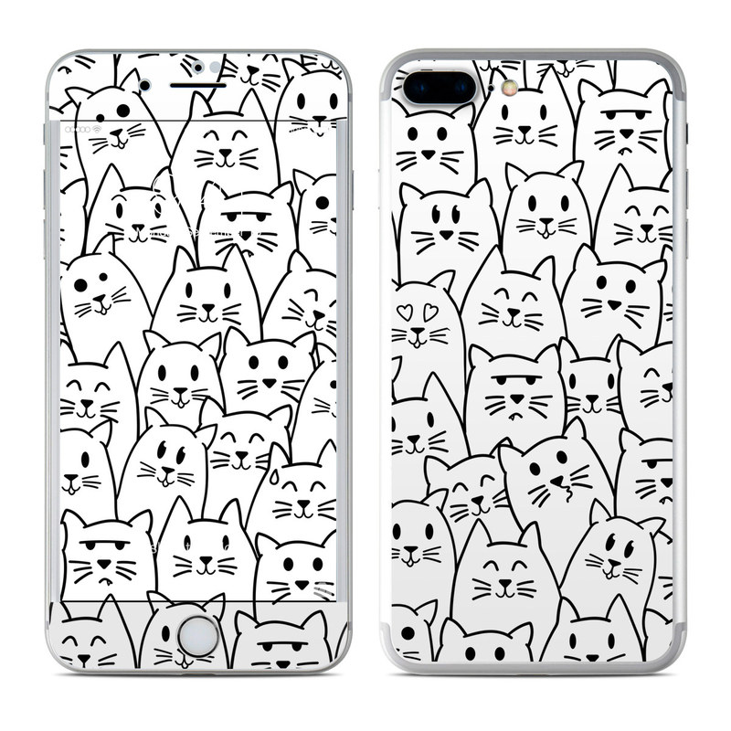 iPhone 7 Plus Skin design of White, Line art, Text, Black, Pattern, Black-and-white, Line, Design, Font, Organism with white, black colors
