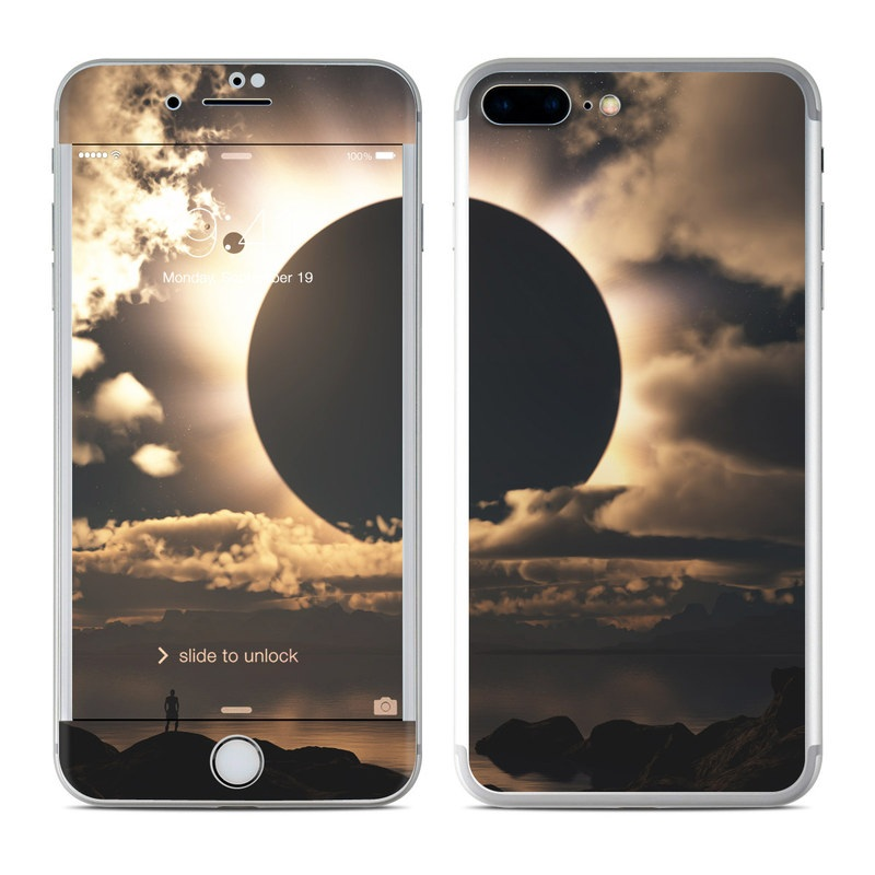 iPhone 7 Plus Skin design of Sky, Cloud, Daytime, Eclipse, Atmosphere, Cumulus, Sunlight, Sun, Astronomical object, Celestial event with black, red, green, gray, pink, yellow colors